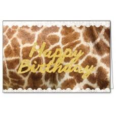 Wenskaart met giraffenprint- happy birthday