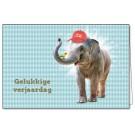 Wenskaart olifant - gelukkige verjaardag