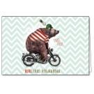 Wenskaart met beer op moto - bereleuke verjaardag