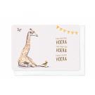 Wenskaart met giraf - hiep hiep hiper hoera