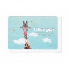 Wenskaart giraf met hartjes - I love you
