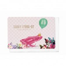 Wenskaart roze kikker met ballon - sorry I frog-ot