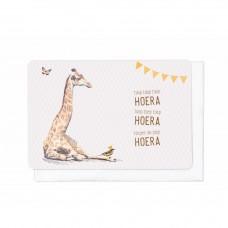 Wenskaart giraf met slinger - hiep hiep hiep hoera