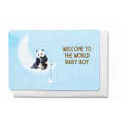 Wenskaart met panda op de maan - welcome to the world baby
