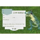 Set van 5 uitnodigingskaartjes + omslagen dino
