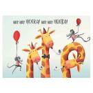 Wenskaart met giraffen en muizen: Hiep hiep Hoera!
