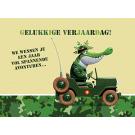 Wenskaart legerkrokodil - gelukkige verjaardag !