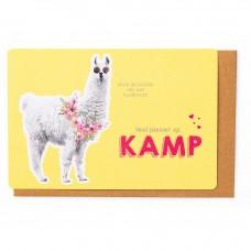 Kampkaart met lama : veel plezier op kamp