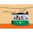 Wenskaart met tram- Hier komt de feesttram