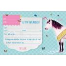 Set van 5 uitnodigingskaartjes + omslagen unicorn