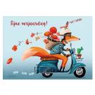 Wenskaart vos op brommer - fijne verjaardag!