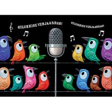 Wenskaart met zingende vogels - gelukkige verjaardag!