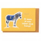 Kampkaart met zuperzebra : ik wens je een zuper leuk kamp