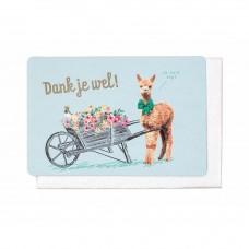 Wenskaart lama met kruiwagen vol bloemen - Dank je wel