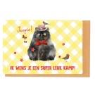 Kampkaart dikke kat - joepie! ik wens je een super leuk kamp!