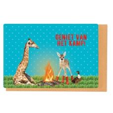 Kampkaart kampvuur - geniet van het kamp