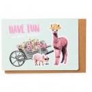 Kampkaart alpaca en varken - have fun veel plezier op kamp!