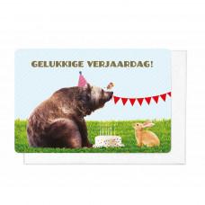 Wenskaart beer en konijn-gelukkige verjaardag
