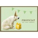Wenskaart met ijsbeer: proficiat met jouw communie