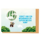Kampkaart luchtballon - geniet van een bangelijk supergeweldig kamp