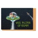 Kampkaart leeuw in ruimteschip - veel plezier op kamp