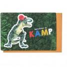 Kampkaart dino rode pet - veel plezier op kamp