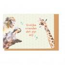 Kampkaart zingende dieren- vrolijke vrienden dat zijn wij!