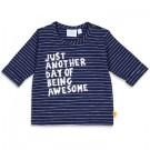 Blauw gestreept t-shirtje met opschrift - Navy (stapelkorting)