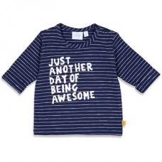 Blauw gestreept t-shirtje met opschrift - Navy