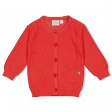Koraalrode gebreide cardigan - Red