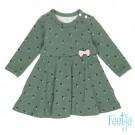 Kakikleurig kleedje met hartjes  - maat 56 (Geboortelijst Odette J.)