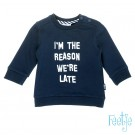 Donkerblauwe sweater - I'm the reason we're late - maat 68 (Geboortelijst ...)