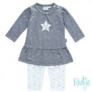 Setje : grijs kleedje met sterretjes + bijpassend sterrenbroekje - grey stars
