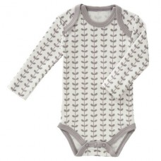 Body lange mouw met grijze blaadjes - body long sleeves leaves grey