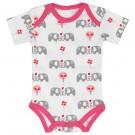 Body korte mouw met olifantjes - roze - maat 0-3 maand (Geboortelijst Julie D.V.)