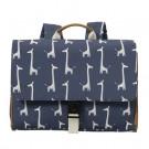 Blauwe boekentas met giraffen- School bag giraf
