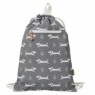 Zwem-en turnzak zwart met hondjes swimming bag dachy