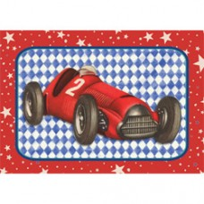 Postkaart met rode racewagen