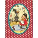 Postkaart meisje met haar popje in de schommelstoel