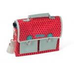 Gelamineerd kleuterboekentasje rood met wit motief - honey poppy