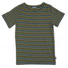 Blauw met gele gestreepte t-shirt - Shirt bas mustard stripes