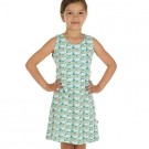 Mouwloos kleedje met zwanen - dress party swan