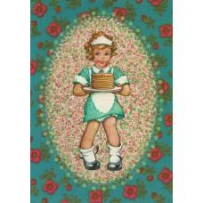 Postkaart pannenkoekenmeisje
