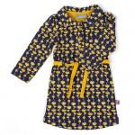 Donkerblauw kleedje met mosterdgele bloemen - Dress Feline poppyfield mustard