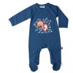 Donkerblauw kruippakje met eekhoorntje en voetjes - Jumpsuit with feet nightblue squirrel