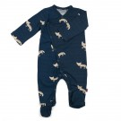Petrolblauw kruippakje met vosjes - Jumpsuit with feet snowfox (stapelkorting)