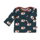 Donkergroene t-shirt met olifantjes - shirt theo elephant - maat 74-80 (Geboortelijst Lou B.)