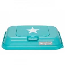 Funkybox turquoise met witte ster - klein