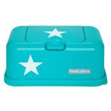 Funkybox turquoise met witte ster - groot