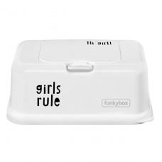 Funkybox wit met tekst 'girls rule '- groot